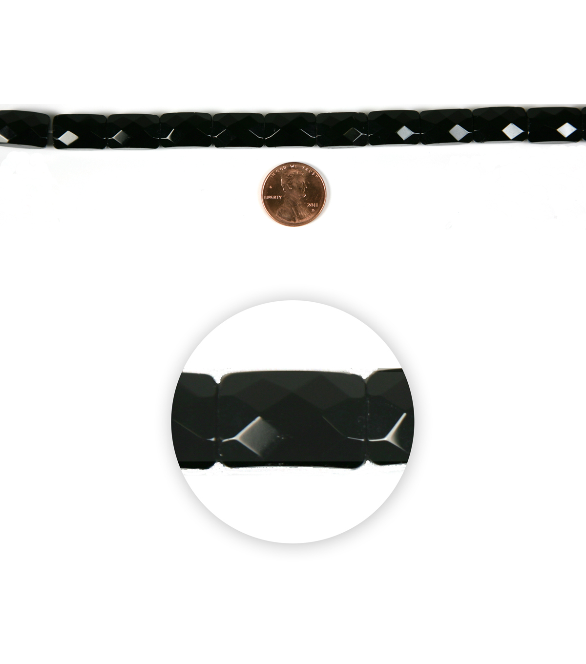 Blue Moon Strung Machine Cut Crystal Beads,Rectangle,Black,Facetted