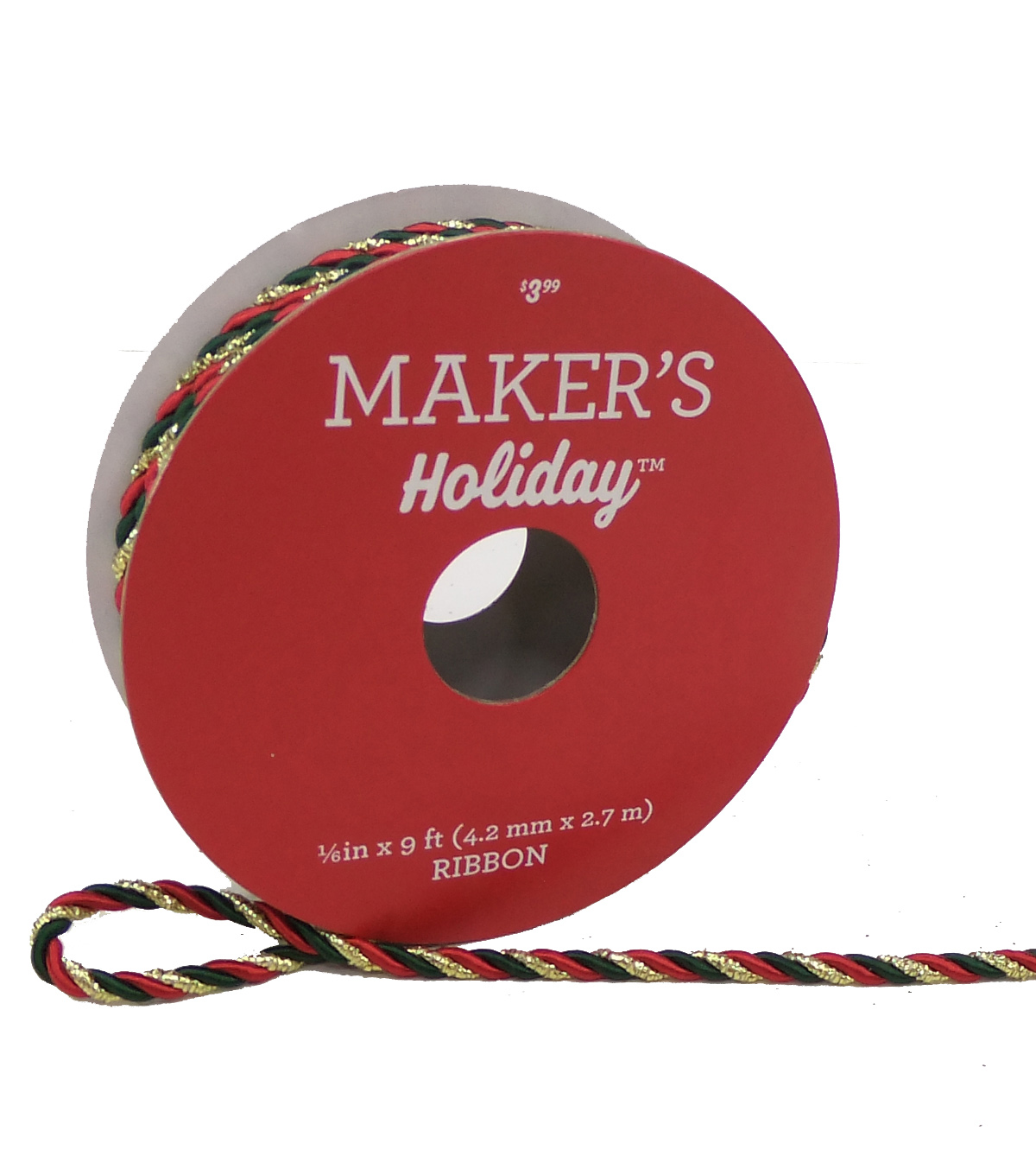 Maker's Holiday Christmas Cord Ribbon 1/6''x9'-Red, Green & Gold