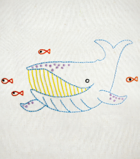 Penguin & Fish Hand Embroidery Pattern-Whale