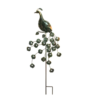 Wild Blooms Large Metal Peacock Yard Stake