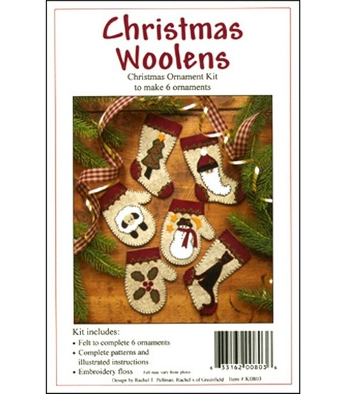 Christmas Woolens Ornament Kit-Set Of Six