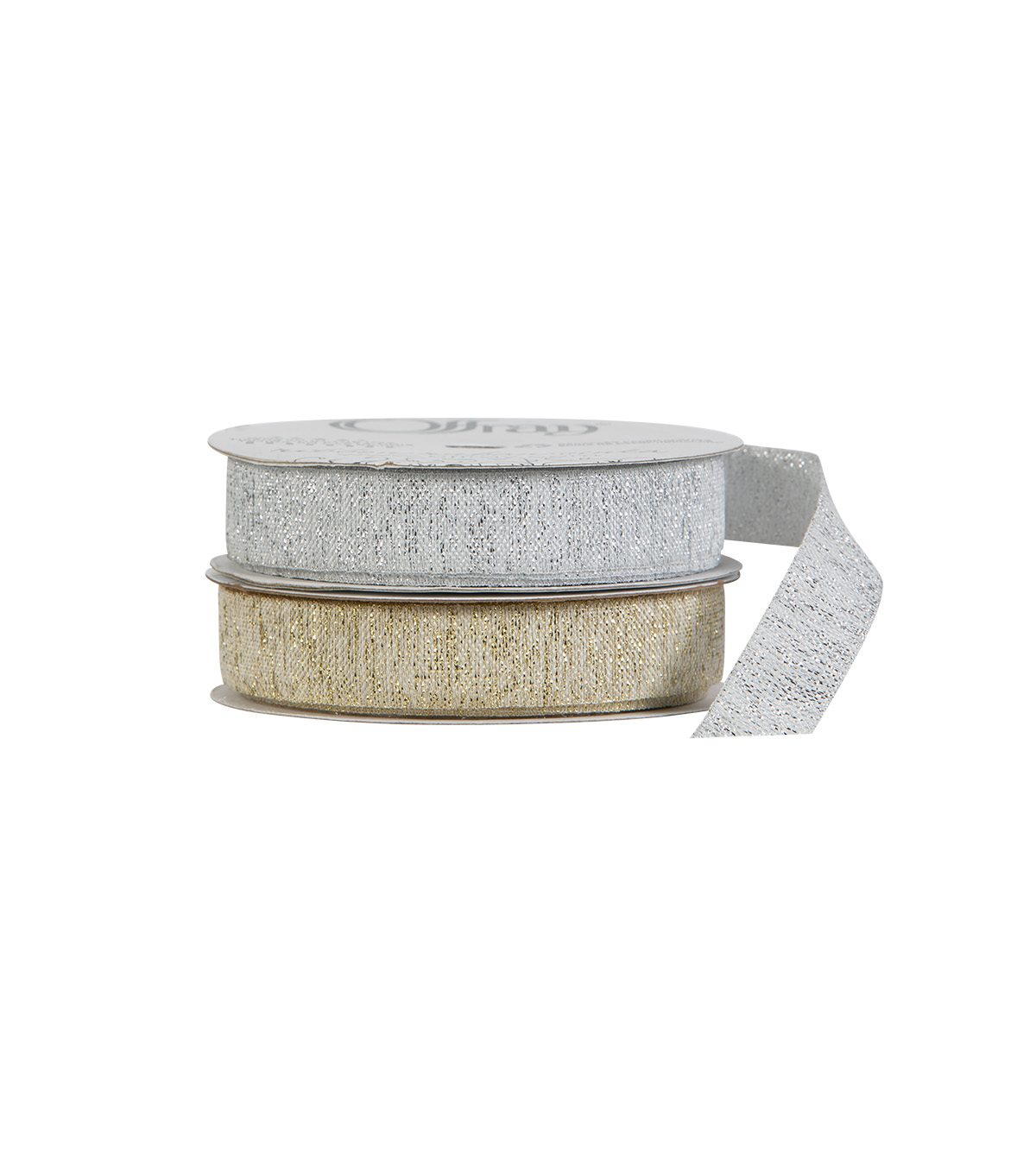 "Offray 5/8""x9' Metallic Watercolor Woven Ribbon-Ivory and Gold"