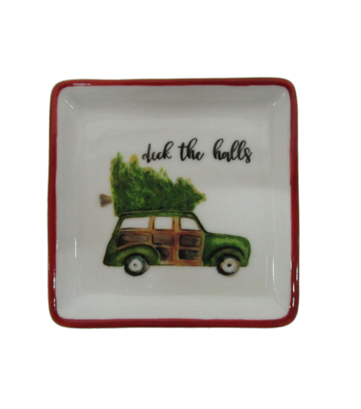 Maker\u0027s Holiday Christmas Stoneware Square Plate-Deck The Halls & Car
