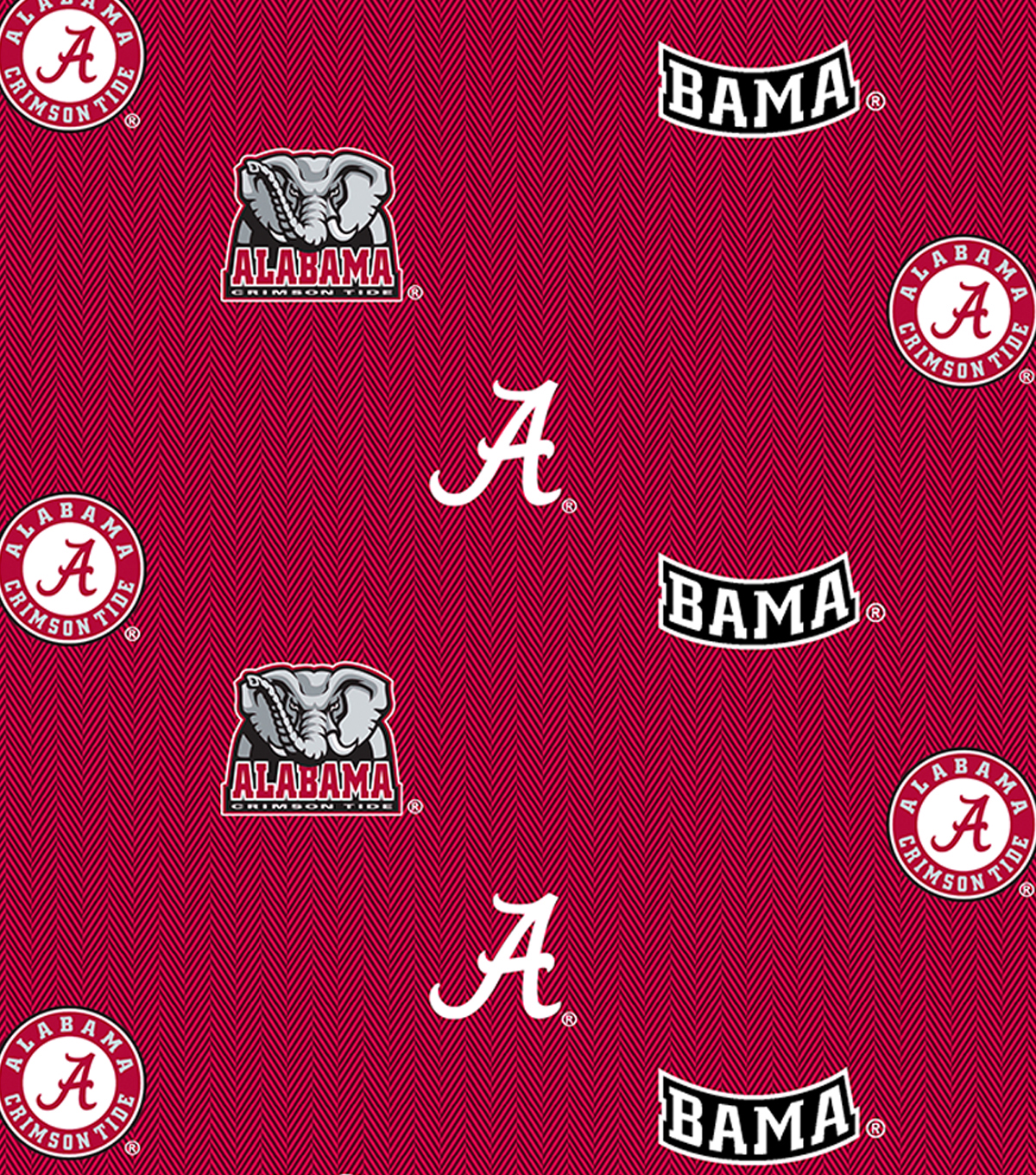 "University of Alabama Crimson Tide Cotton Fabric 43""-Allover"