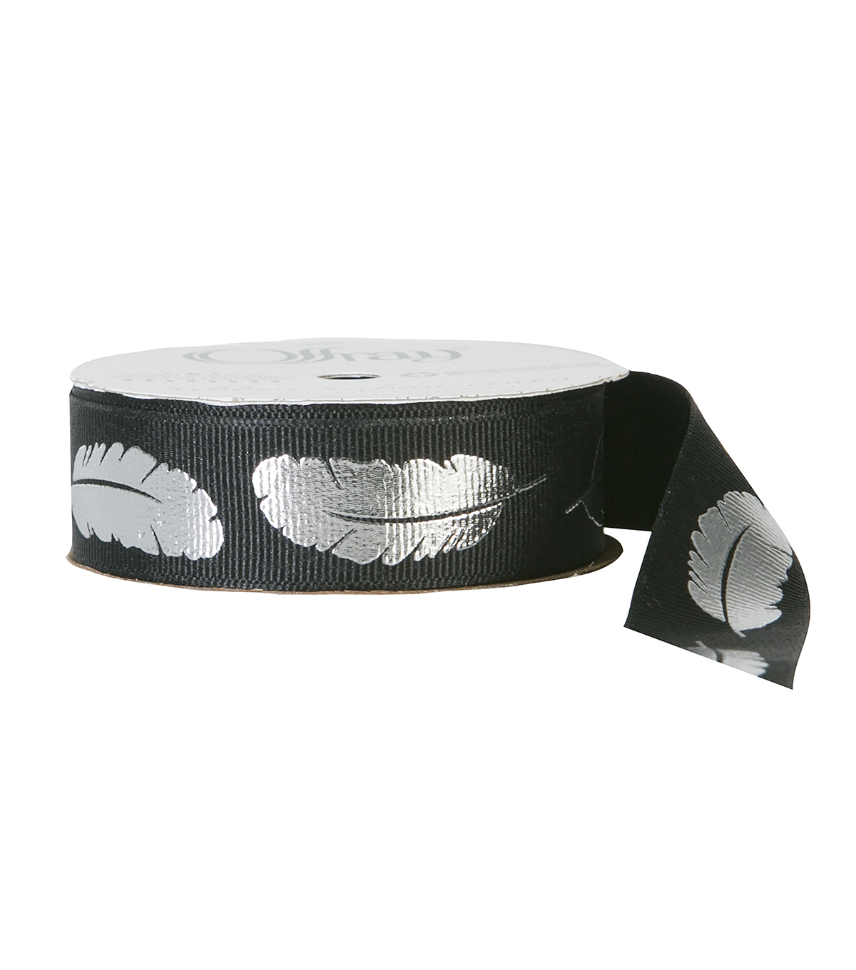 "Offray 7/8""x9' Metallic Feather Floral Grosgrain Ribbon-Black"