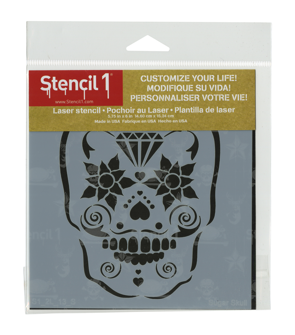 Stencil1 Customize Your Life! 5.75\u0027\u0027x6\u0027\u0027 Laser Stencil-Sugar Skull