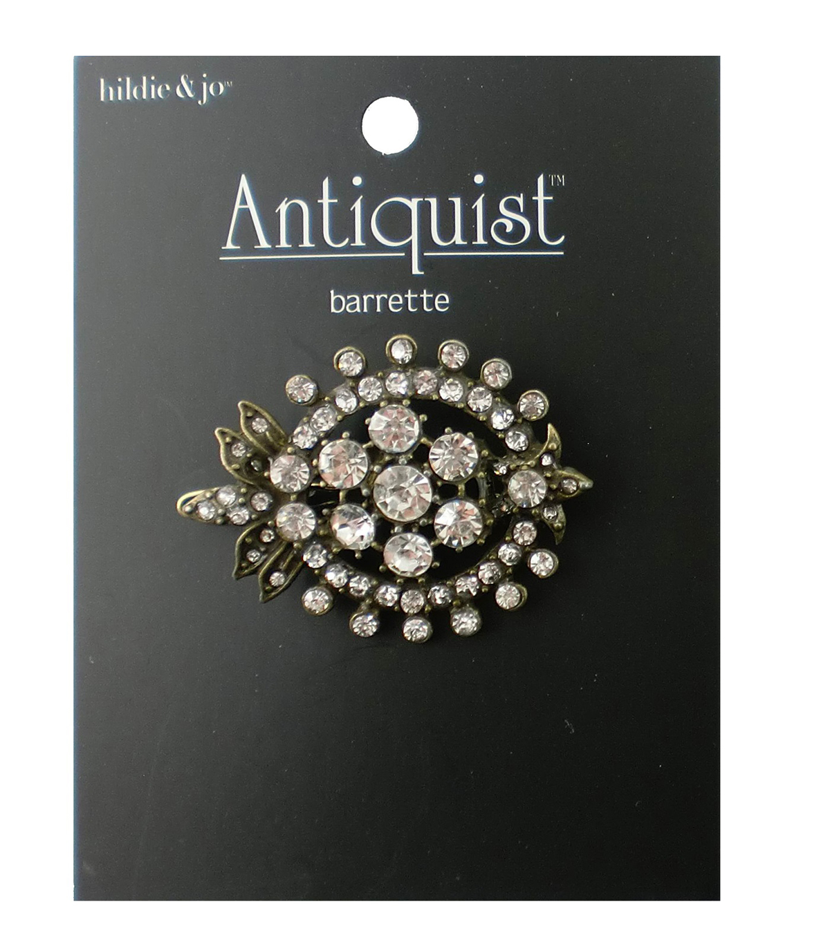 hildie & jo™ Antiquist Antique Gold Barrette-Clear Rhinestones
