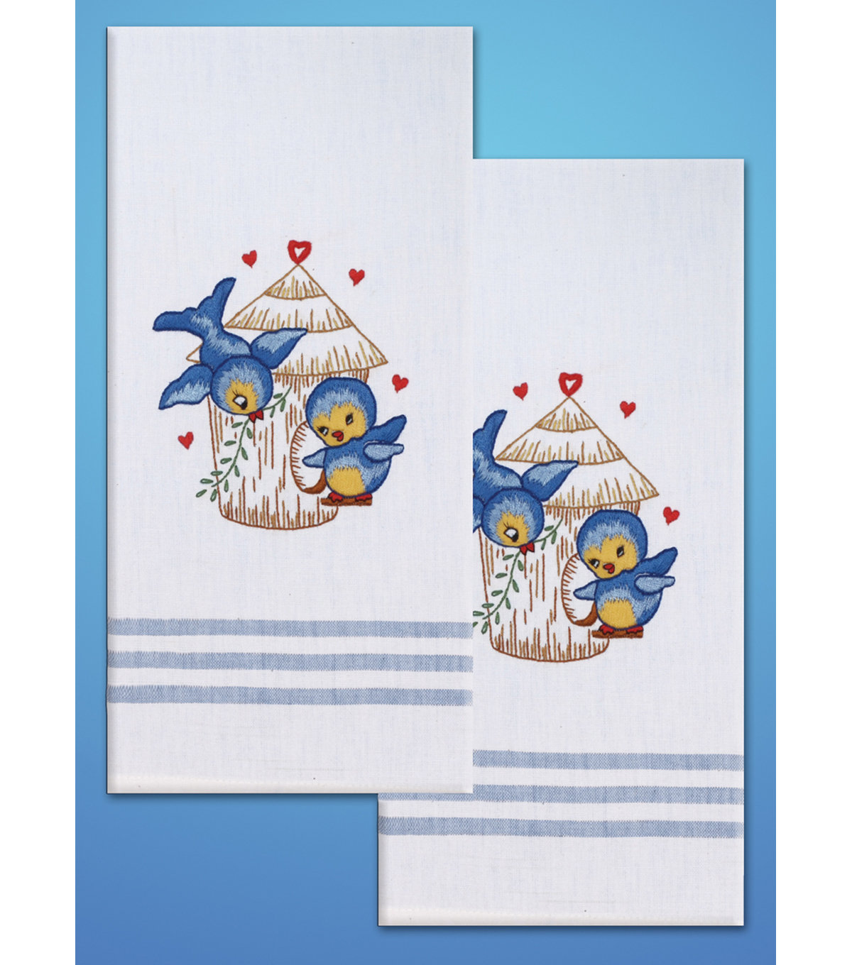 Tobin Stamped Kitchen Towels For Embroidery Bird