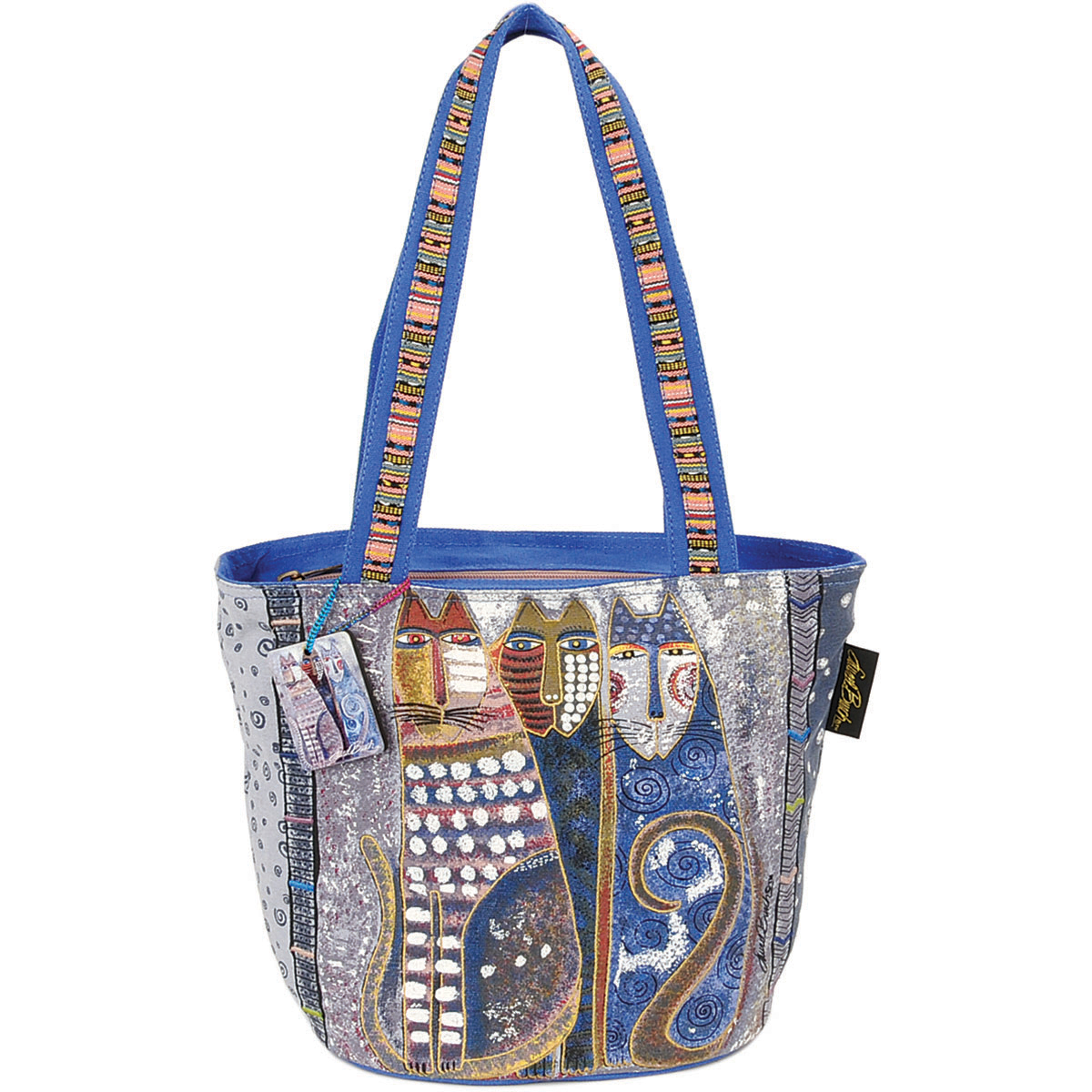"Laurel Burch Medium Tote Zipper Top 14""x6""x9.5""-Autumn Felines"
