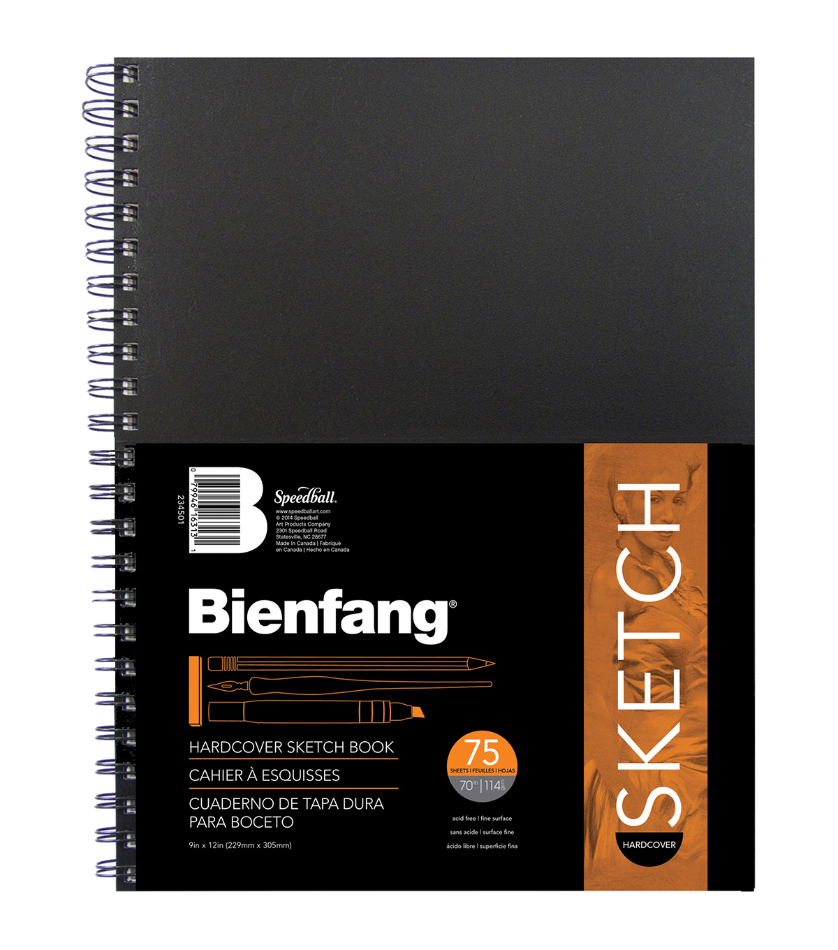 "Bienfang Hardcover Spiral Sketch Book 9""X12""-75 Sheets"