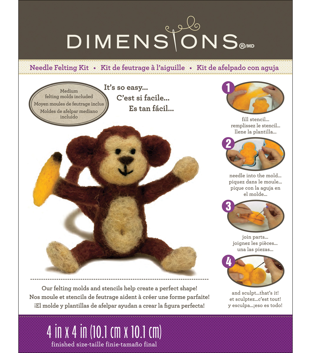 Feltworks Needle Felting Kit-Monkey