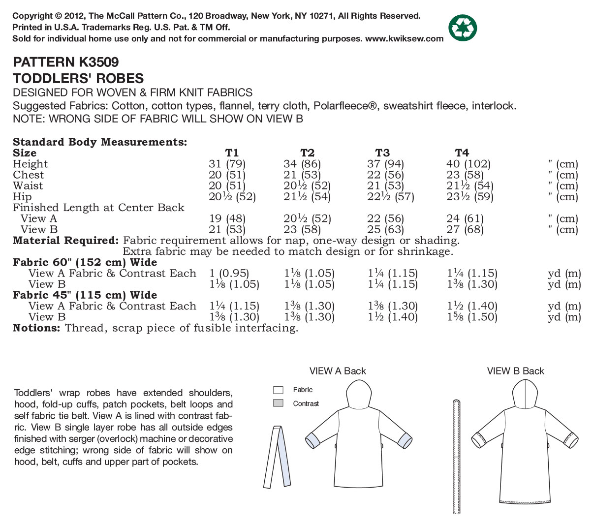 Kwik Sew Pattern K3509 Toddlers\u0027 Robes