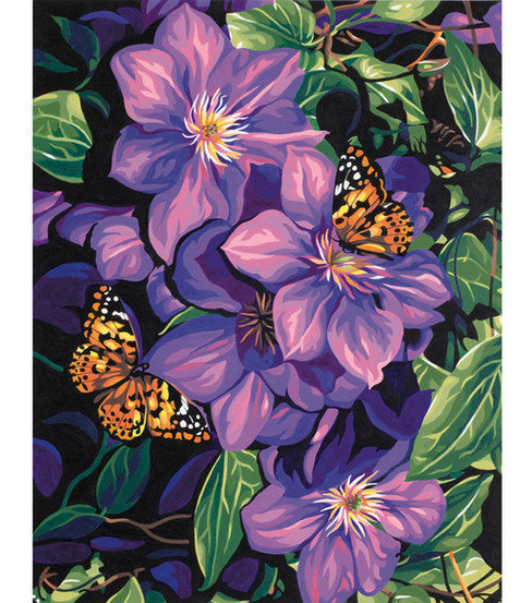 Dimensions Paint By Number Kit Clematis & Butterflies