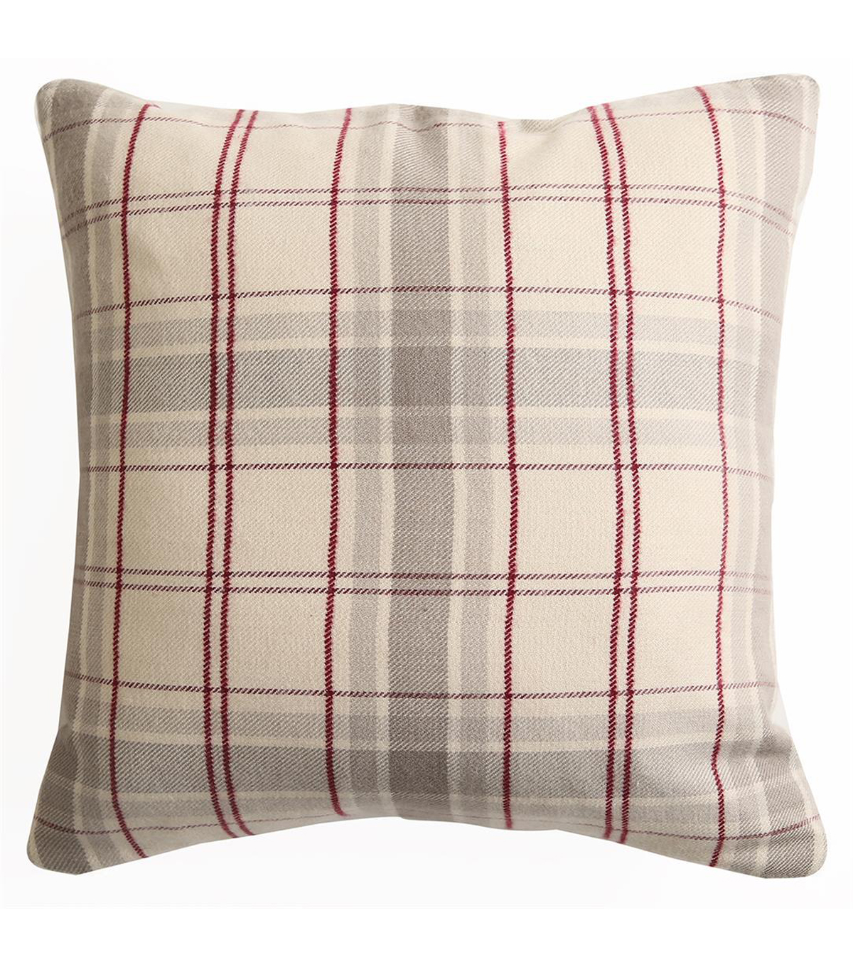 Fall Into Color 18''x18'' Pillow-Neutral Plaid
