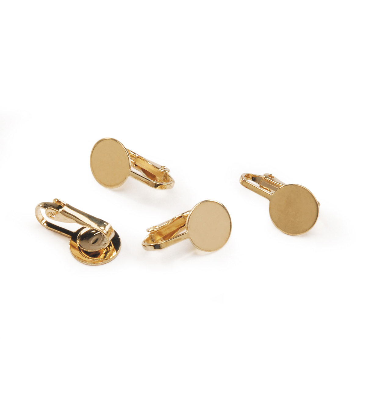 Gold Colored Steel Earring Clip with Pad, 4pc/pkg