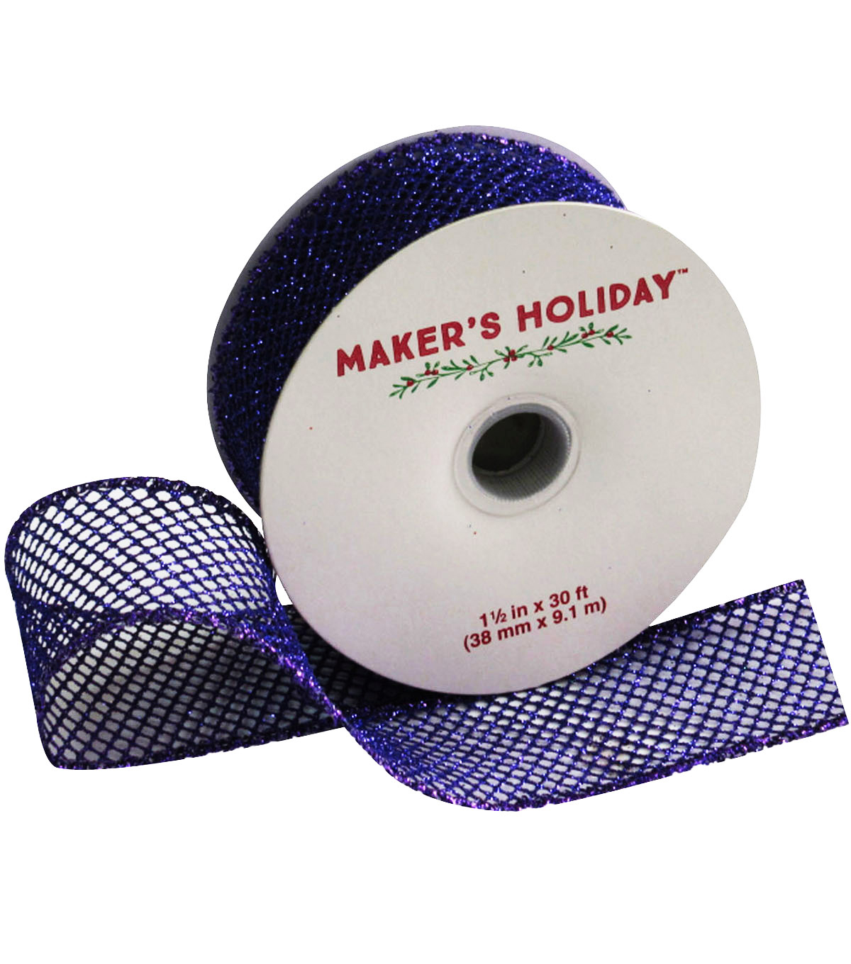Maker's Holiday Mesh Ribbon With Glitter 1.5''x30'-Purple