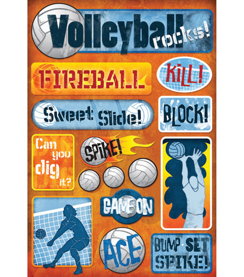 Karen Foster Stickers-Volleyball Rocks