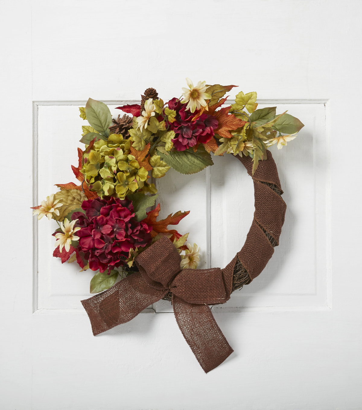 Blooming Autumn Hydrangea Daisy Wreath With Bow-Burgundy, Green & Brown