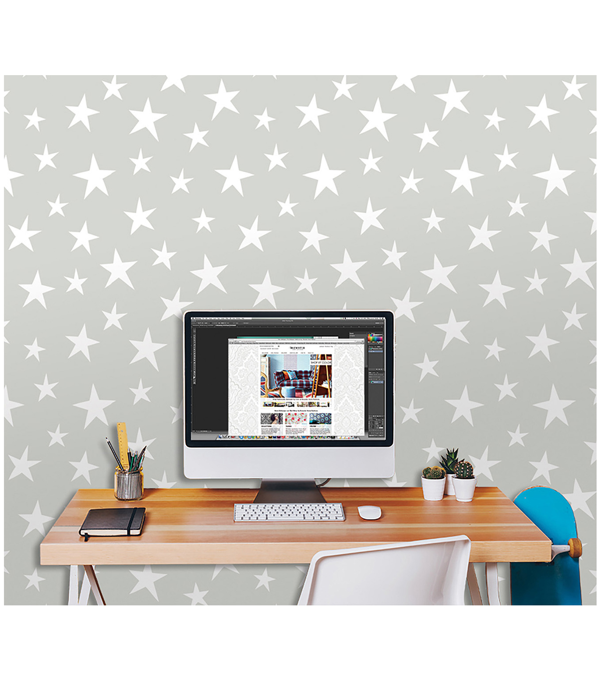 WallPops® NuWallpaper™ Grey Stardust Peel  & Stick Wallpaper