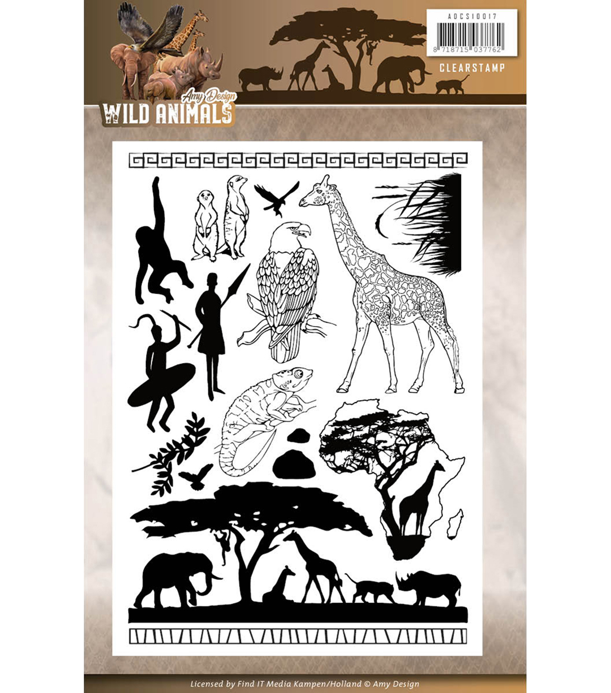 Find It Amy Design Wild Animals Clear Stamps