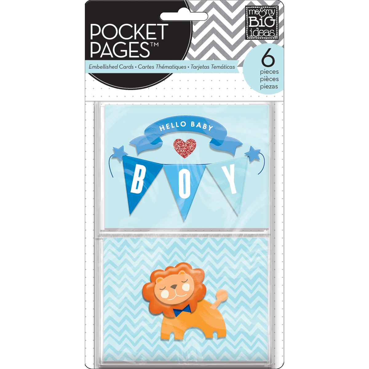 Me & My Big Ideas Pocket Pages Themed Embellished Cards Hello Baby Boy