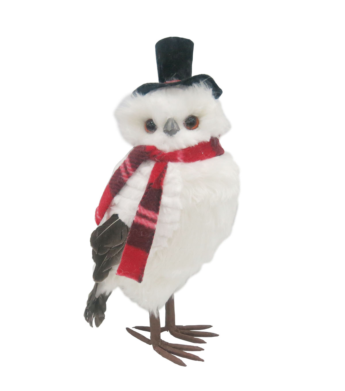Blooming Holiday 15'' Owl With Top Hat-White