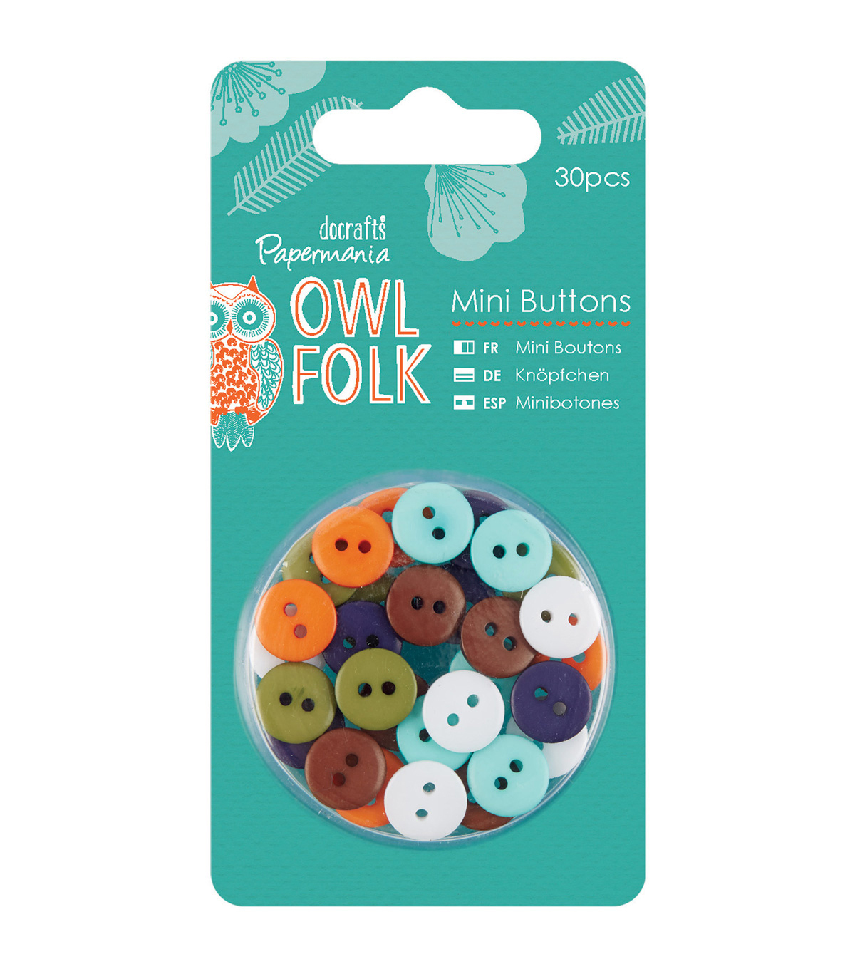 Papermania Owl Folk 30ct Mini Buttons