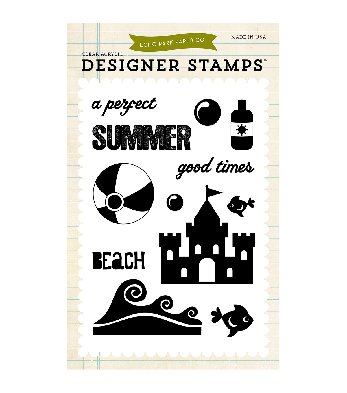 Echo Park Paper Company Perfect Summer Stamps 4\u0027\u0027x6\u0027\u0027
