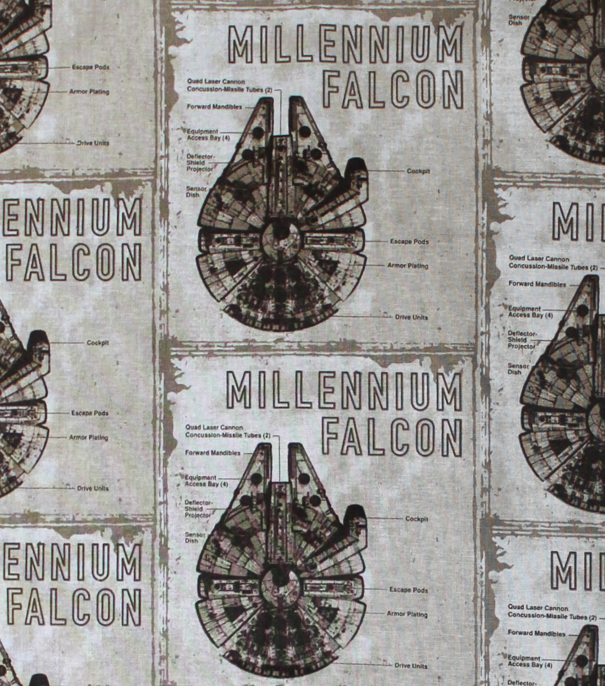 Star Wars™: The Last Jedi Cotton Fabric 44\u0022-Millennium Falcon Blueprint