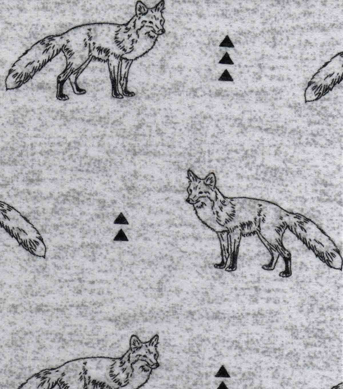 "Luxe Flannel Fabric 42""-Fox On Gray Heather"