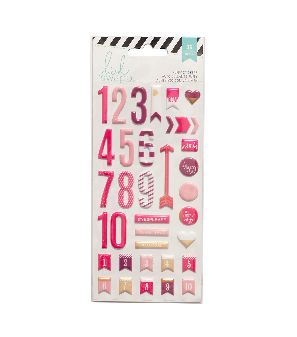 Heidi Swapp 36 Pack Puffy Number Stickers-Pink