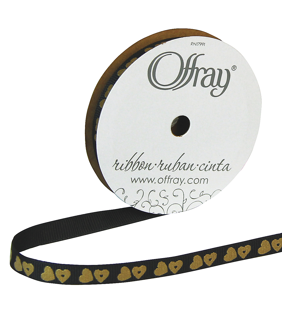 "Offray 3/8""x9' Metallic Candy Hearts Grosgrain Ribbon-Black"