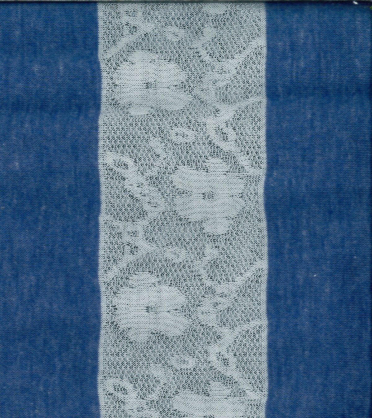 Fashion Knits- Lacey Stripe Blue Ivory Polyester Cotton Fabric