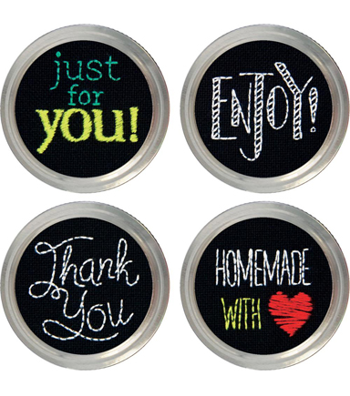 Greetings Jar Topper Embroidery Kit-Set Of 4