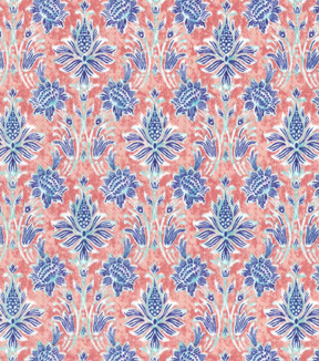 Asian Inspired Cotton Fabric 43\u0022-Floral Damask Coral