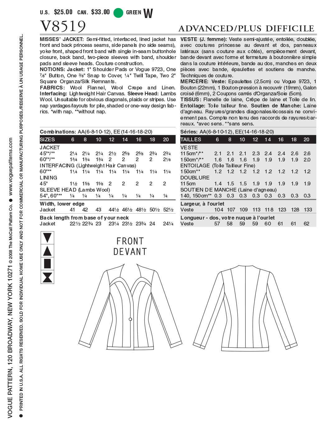 Mccall Pattern V8519 Aa (6-8-10-Vogue Pattern