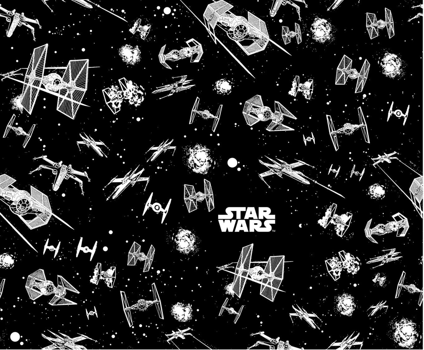 "Star Wars™ Cotton Fabric 44""-Glow in the Dark Ships"