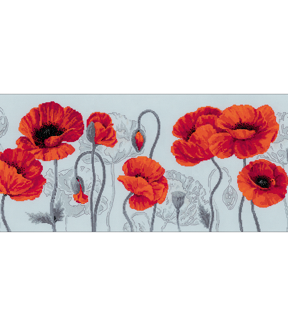 Scarlet Poppies Counted Cross Stitch Kit 14 Count