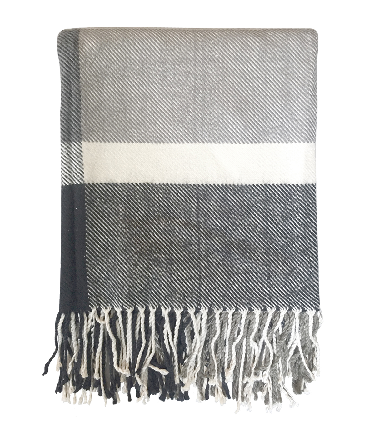 Maker\u0027s Holiday Christmas Throw-Gray & White Stripe
