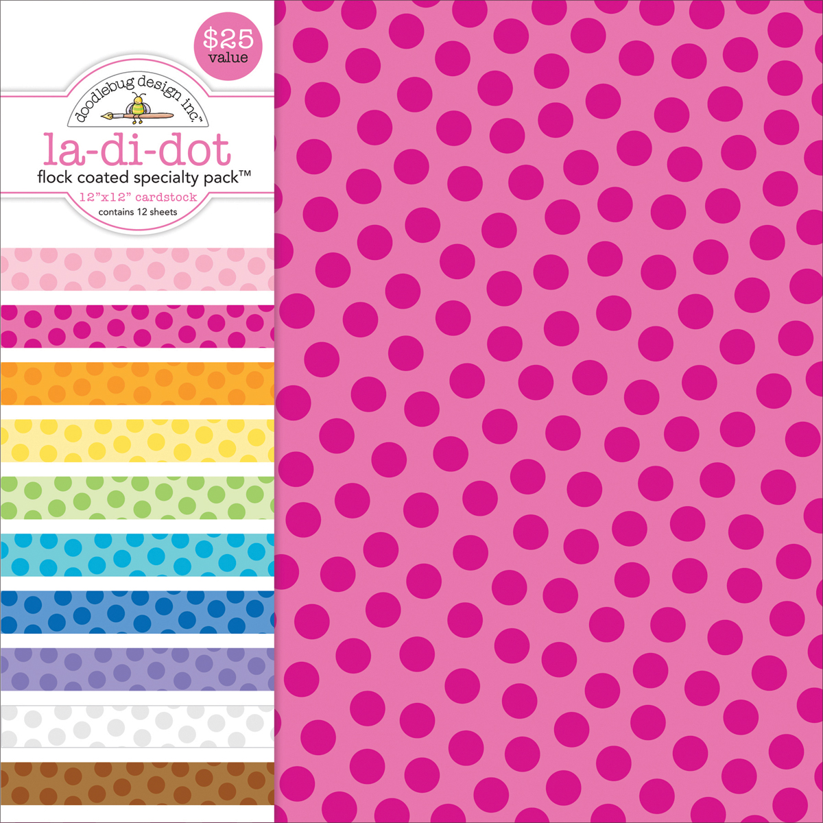 Doodlebug Flocked La-Di-Dot Specialty Cardstock Value Pack