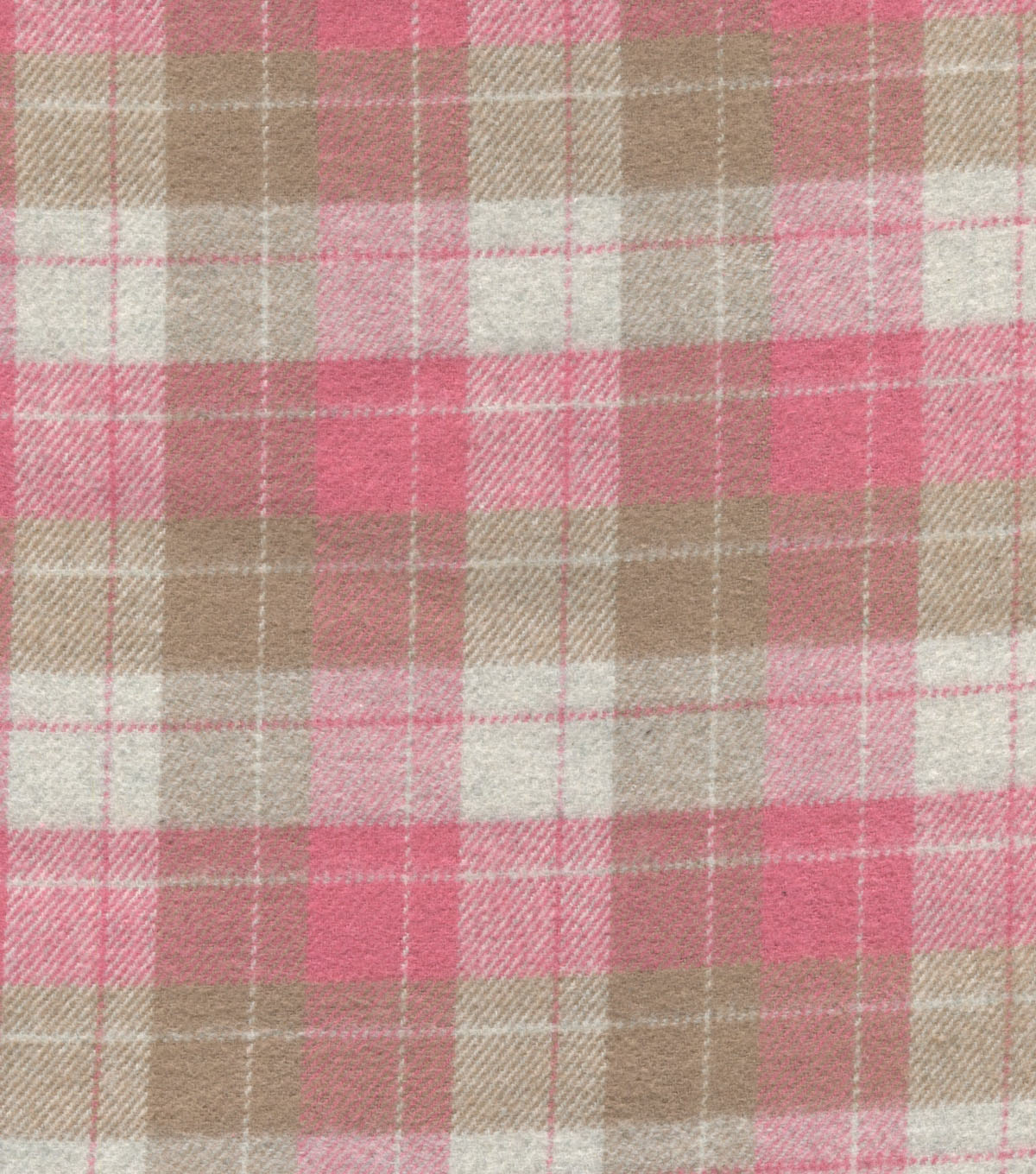 Plaid Brush Cotton-Taupe Pink