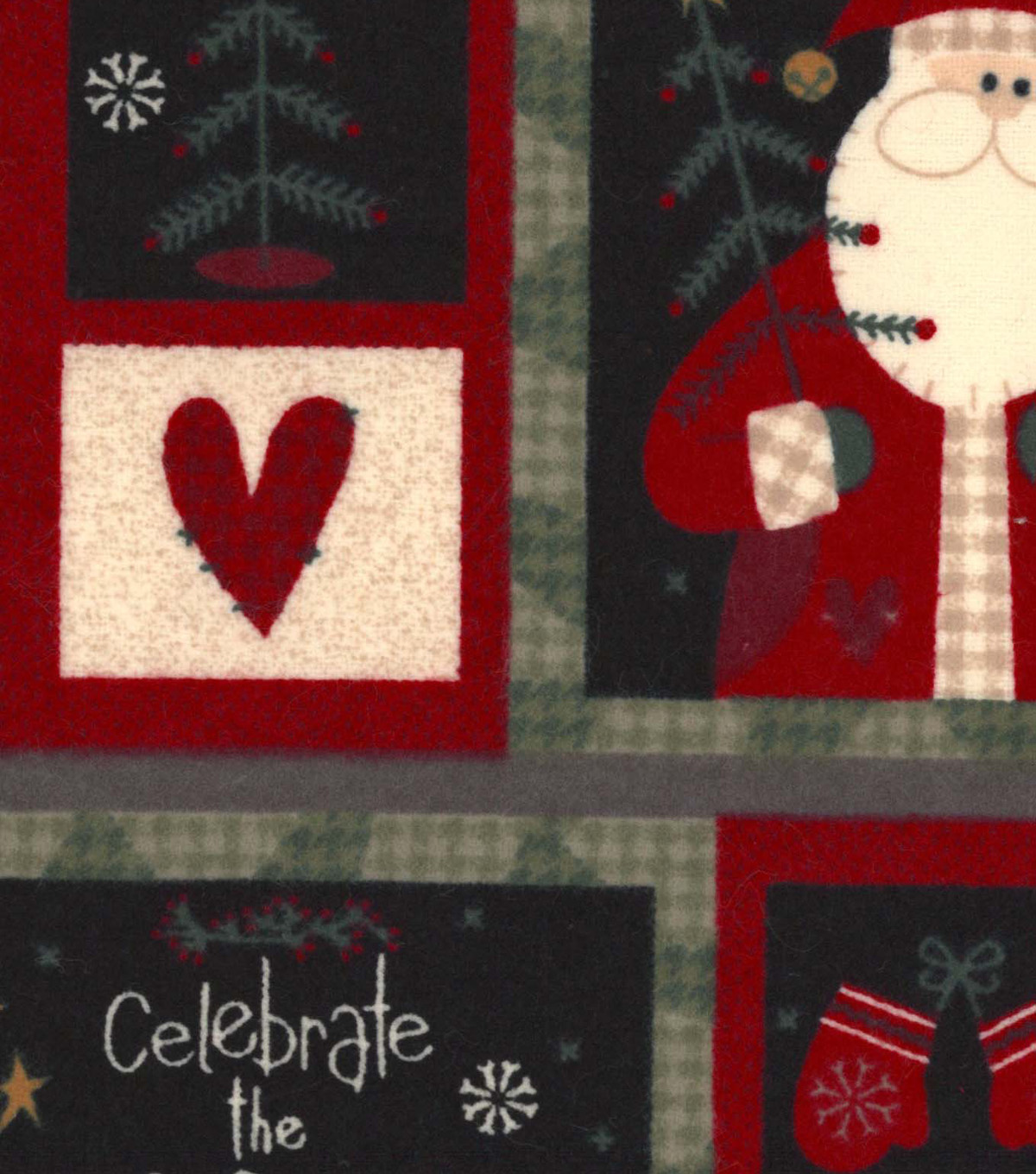 Snuggle Flannel Fabric 42\u0022-Country Santa Patchwork