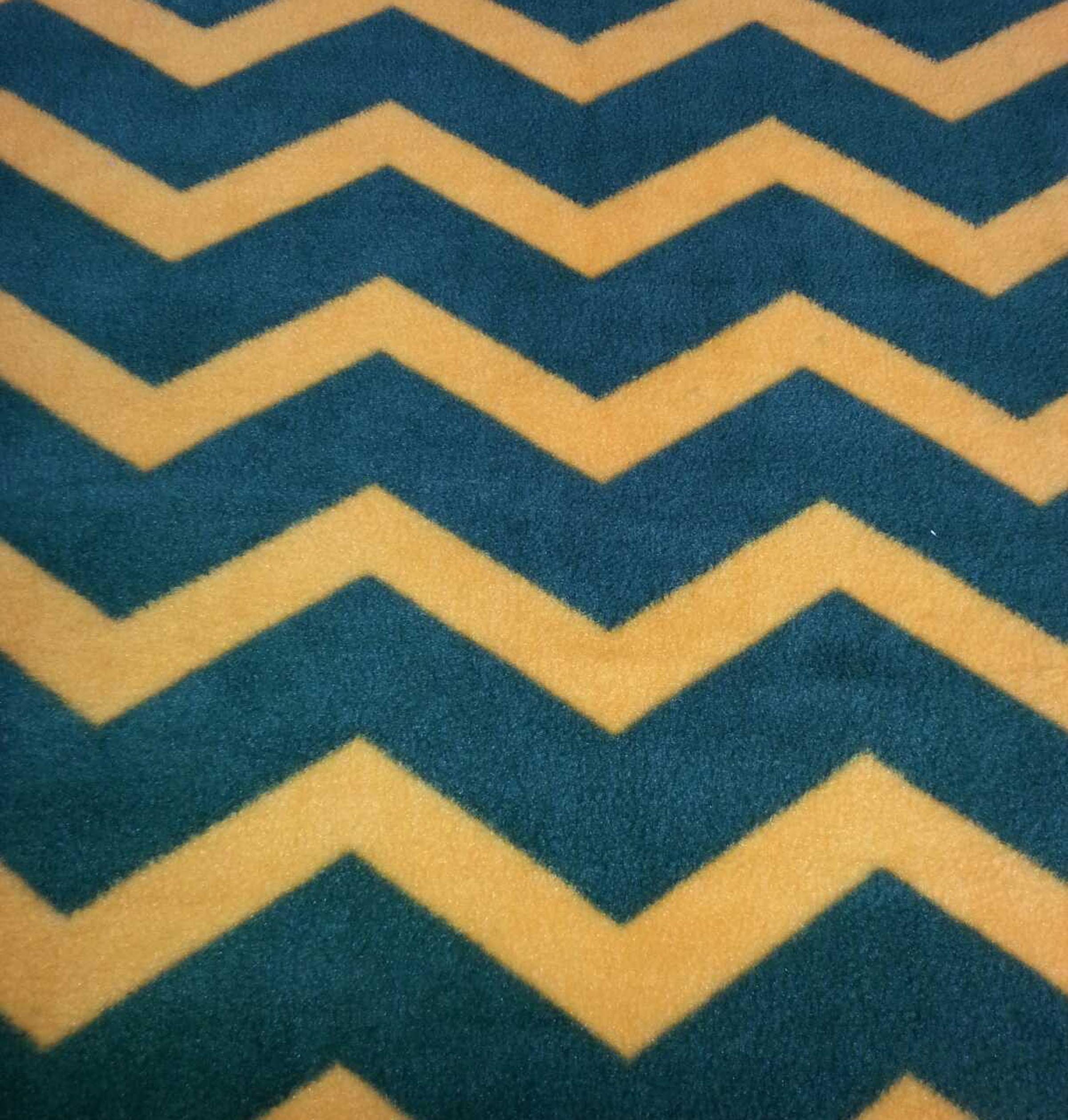 Anti Pill Fleece Fabric- Green & Gold Chevron | JOANN