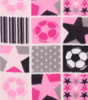 "Anti-Pill Fleece Fabric 59""-Pink Patchwork Soccer"