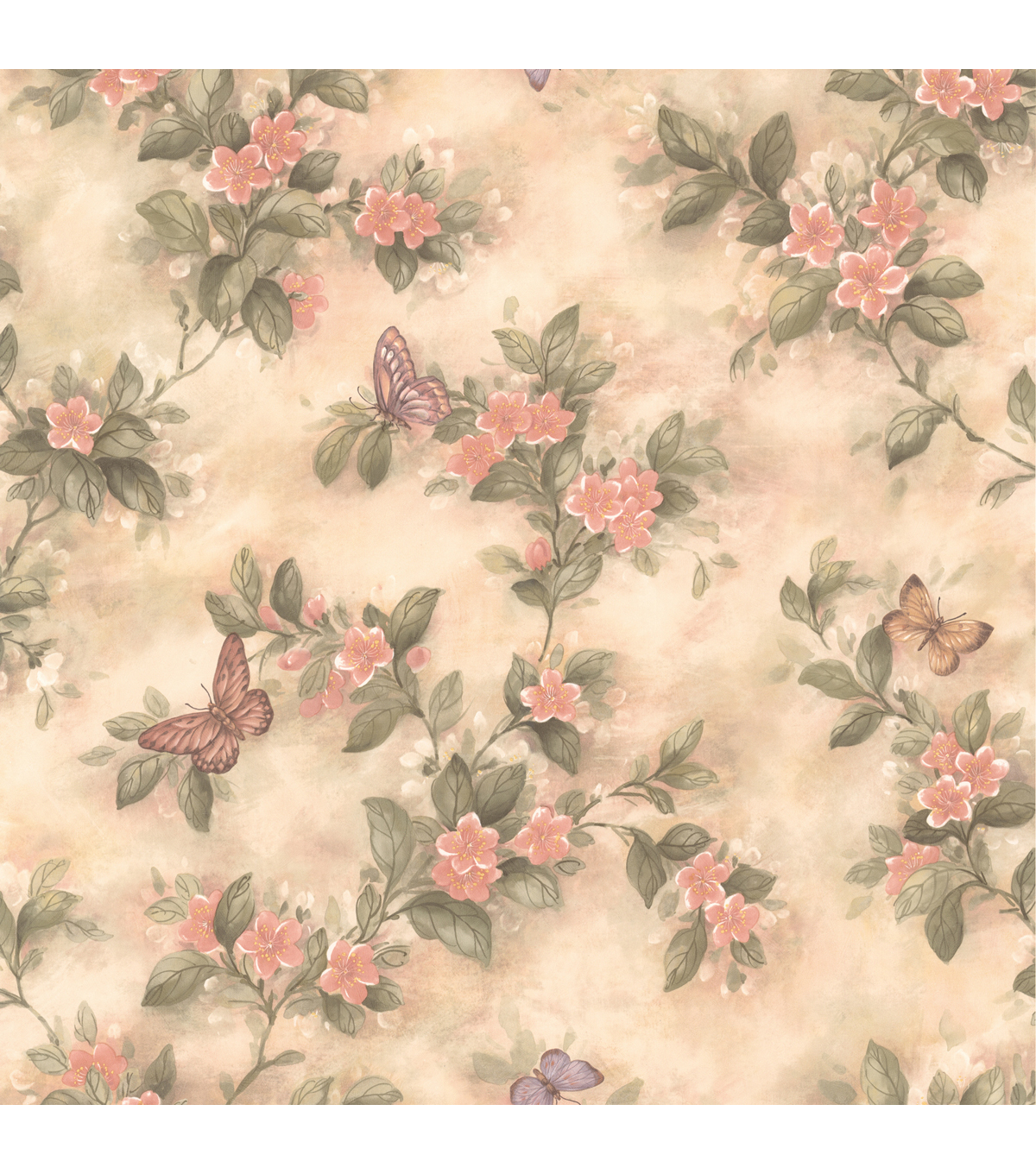 Mariposa Pink Butterfly And Floral Trail Wallpaper Sample