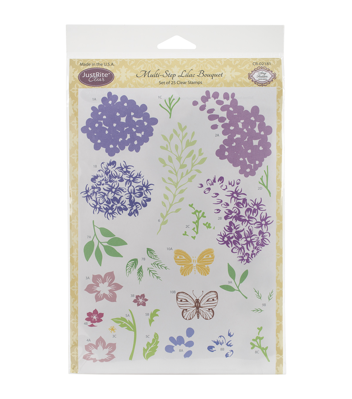 JustRite Papercraft 6''x8'' Clear Stamp Set-Multi-Step Lilac Bouquet