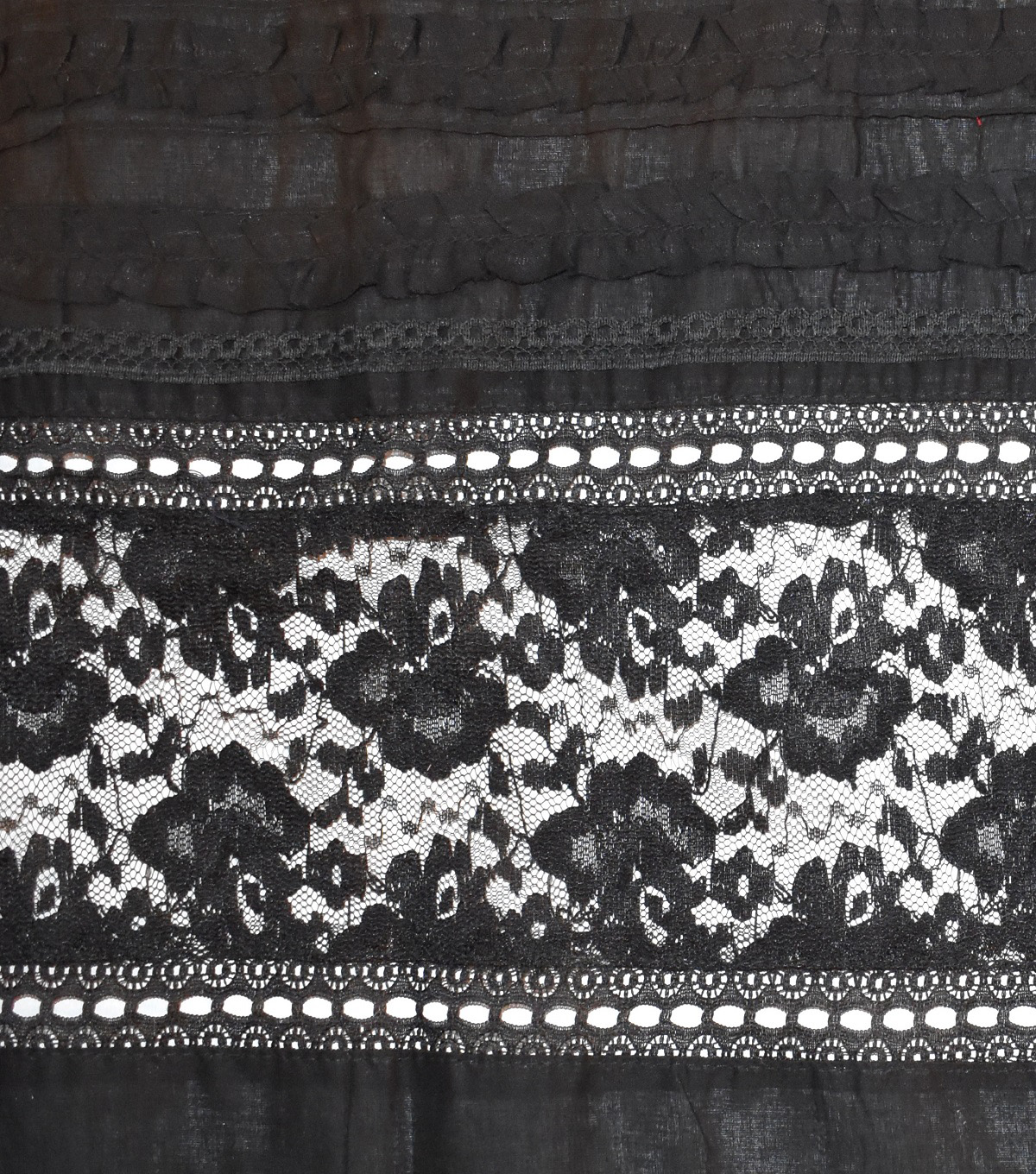 Speciality Cotton Fabric 43\u0027\u0027-Dark Gray Lace Eyelet