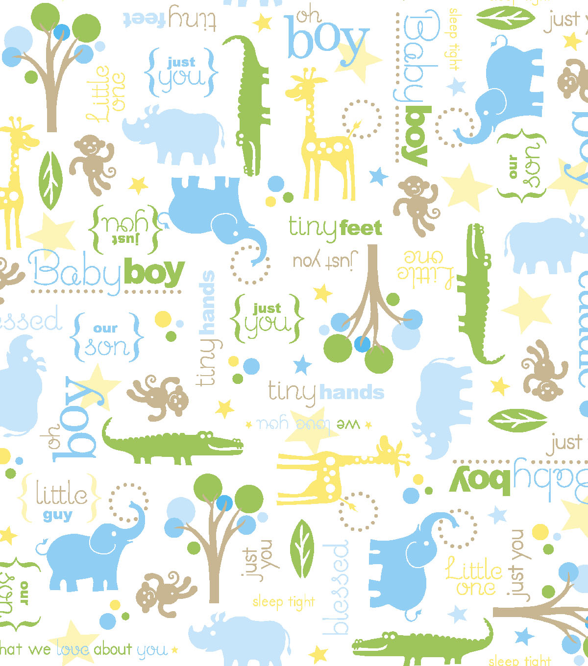"Snuggle Flannel Print Fabric 42""-Little Boy Animal Scene"