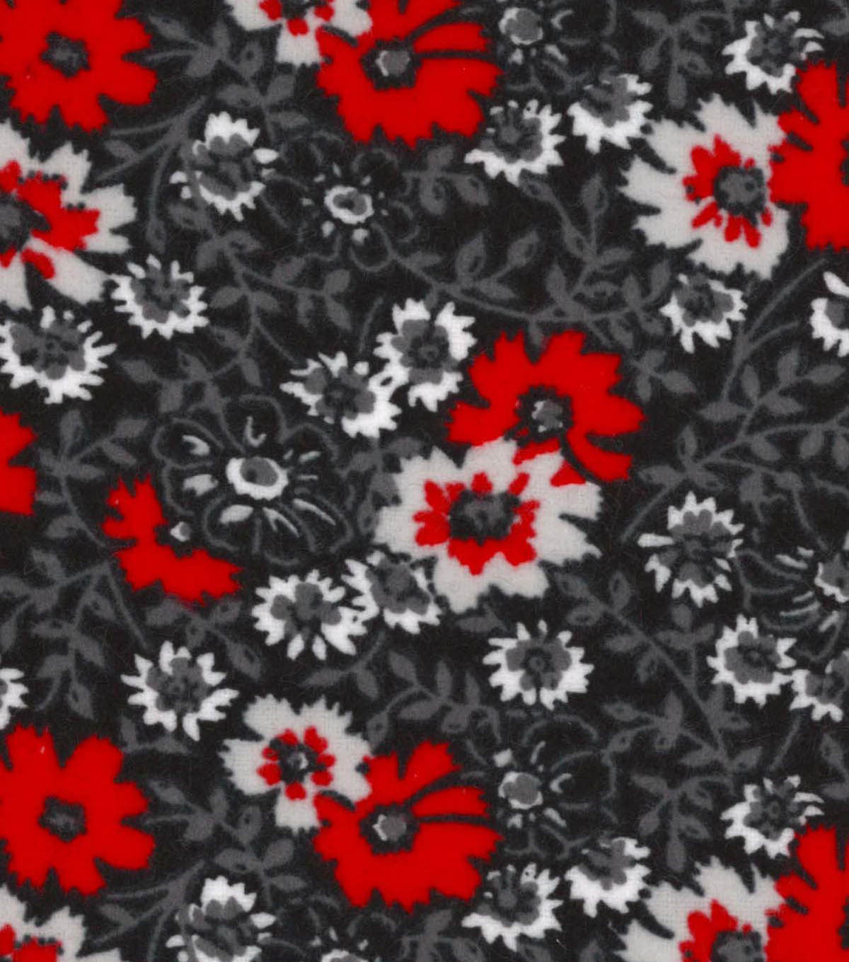 Snuggle Flannel Fabric 42\u0022-Black Red Floral