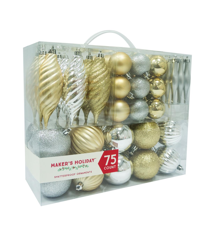 Maker\u0027s Holiday 75ct Shatterproof Ornaments Gold U0026 Silver